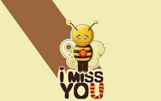 sad bee wallpaper with i miss you text