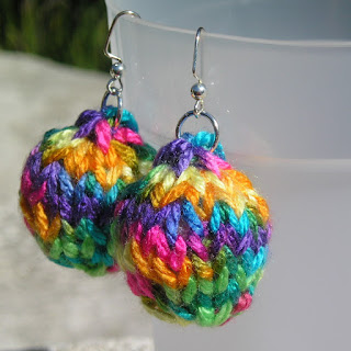 Bauble Earrings Multicolored Knit
