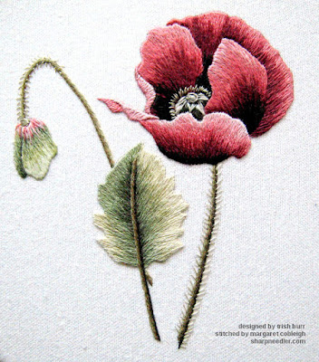 Completed thread painting of red poppy designed by Trish Burr