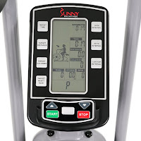 Sunny Health & Fitness SF-B2706's LCD Fitness Monitor, image, displays time, speed, distance, RPM, Watts, intervals, custom intervals, calories, Bluetooth heart-rate, scan