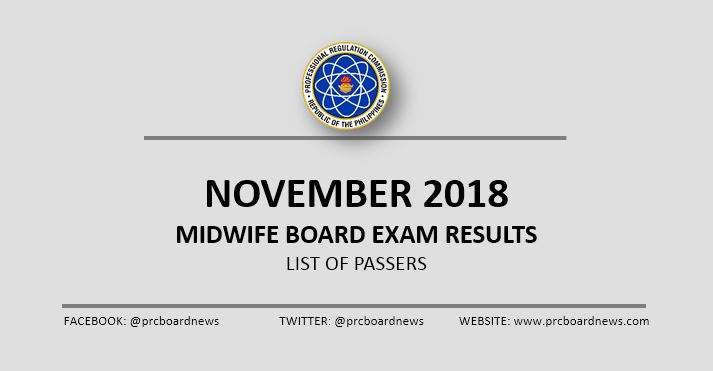 OFFICIAL RESULTS: November 2018 Midwife board exam list of passers