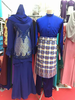 baju songket pengantin royal blue