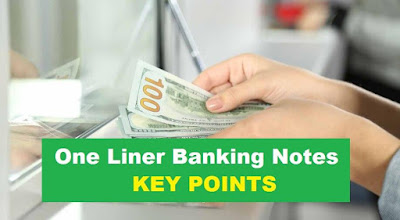 "One liner Banking Awareness IBPS PO Notes   Bounced Cheque – Bounced Cheque When the bank does not have sufficient funds in the account concerned or the account holder requests that the cheque is being paid (in exceptional circumstances), the bank will send the account holder back to the cheque holder.  CGT (Capital gain tax) – It is a direct tax that will be levied on sales and purchases of capital assets such as Shares, stakes, even costlier items which won't have depreciation such as monuments, paintings. Cheque Book a small, bound booklet of cheques. Cheque a piece of paper printed with your account number, sorting code and printed number in your bank. The account number separates your account from another account, the sort code is your bank's special code, which separates it from any other bank.   Cheque Clearing - This is the process of getting the money from the cheque writer's account into the cheque receiver's account  Clearing Bank – This is a bank that can clear funds between banks. For general purpose, it is an institution which we know as a bank or banking service provider.  Core Banking Solution (CBS) – The branches of a bank are connected to a central host, where online multiple delivery channels like ATM, ABB, Debit Card, Mobile Banking etc. under one roof.  Credit Card – A system of payment of small plastic card naming payments to users of a credit card system. Based on the commitment of the payment holder for these products and services, it provides a card to buy its holder's product and services.      Credit Rating – This is a rating that comes from a separate (or company) credit industry. It is obtained by the person's credit history, which is available from analysis resources such as CRISIL India.  Credit-Worthiness – It is an institution's judgment which determines whether or not to take a specific person as a customer. A person can be considered for the competence of an organization but not by any other organization. Whether an organization's high risk is involved with customers depends on whether or not.  Crop Loans – Bank provide crop loans to the farmers for their seasonal operations (Kharif, Rabi) of agriculture like to purchase seeds, fertilizers.  Cross Selling – Cross selling refers to selling of multiple products to the existing customers such as insurance, mutual funds etc. (to the banking customers).  Debit Card – Debit card allows for direct withdrawal of funds from customers' bank accounts. The spending limit is determined by the available balance in the account.  Demand Deposit – A demand deposit is the one which can be withdrawn at any time, without any notice or penalty; e.g. money deposited in a checking account or savings account in a bank.  EMI (Emulated Monthly Installment) – An equal amount repaid with the principal and interest amount of a loan on every month.  Endorsement – When facing the machinist's signature, the signer signs the ""Check Specific People"" check back. It means transfer from one person to another person.  Excise Tax – Taxes imposed on certain products and services, such as cigarettes and petrol. Customs duty is applicable to the intermediate limits, as 'tax' tax is defined as tax.  Fiscal consolidation – Process where it is Government Issue of restrictions on our economy such as licensing of industries, ban on stacking etc. We are working under the Reserve Bank of India, it is a perfect measure of the FABM Act (Financial Accountability and Budget Management Act) 2003.  Fiscal policy – Financial policies are used to influence the use of government policies and revenue collection to influence the economy  Floating rate of interest - It is also known as variable or regular rate. It refers to any type of debt instrument (such as debt, bond, and mortgage) or credit, which does not specify interest rates on the life of the instrument. Due to outside market conditions, it changes on a specific basis.  General Anti-Avoidance Rule (GAAR) – This is an anti-tax avoidance regulation system set up in India by a tax regulator, which bans tax evaders, tax hawking through tax housing like Taxation of Mauritius, Luxemburg, Switzerland. It was launched by Former Finance Minister Pranab Mukherjee during the budget session on March 16, 2012. Finance Minister Arun Jaitley announced that his implementation will be delayed by 2 years and was implemented on 1st April, 2017.  Tax Havens – Tax houses govern the countries which lower taxes, which allow people to continue to tax or tax fraud. There are around 45 tax houses in the world today. In the Indian context, Mauritius is considered to be the most prominent tax house or tax avoidance route.  AGM (Annual General Meeting) - This is the year meeting held by each registered company. The agenda explains the yearly activities, presentation of annual financial statements, voting on important financial decisions. Any shareholder can participate in AGM.  Asset turnover ratio - This ratio can be interpreted as Net Assets / Total Transactions or Sales. This ratio measures the efficiency of business assets. In simple terms, how long the total wealth of this measurement becomes one year and how effective the utilization of an organization's assets is?  Acid test ratio - It is one of the important ratios for measuring commercial fluid. Business liquidity is defined as a business to provide a short-term loan to Acid test ratio = liquid asset / current liability.  American Depository Receipt - This is a way that does not raise money from investors in the United States. These shares are traded on the US Stock Exchange and are valued within US $.  Amortization – This is an accounting technique by which invisible assets are closed within a specific time period. For example, the provision of suspicious loans or preliminary expenditure is closed in a period of time.  Annuity – This is an investment project under which the investor is able to invest repeatedly and eventually he is financed one by one. The common example is the repetitive deposit account in a post office where people make small monthly deposits and get their money back at the end of the period. The annual investor receives a composite interest in a specific period of time.  Asset Management Company (AMC) – AMC is an organization that collects and monetizes investors' money in specified goals. The fund is known as a mutual fund.  Audit – Financial statements and physical stock are examined annually (Chartered Accountant approved by ICAI in India)."