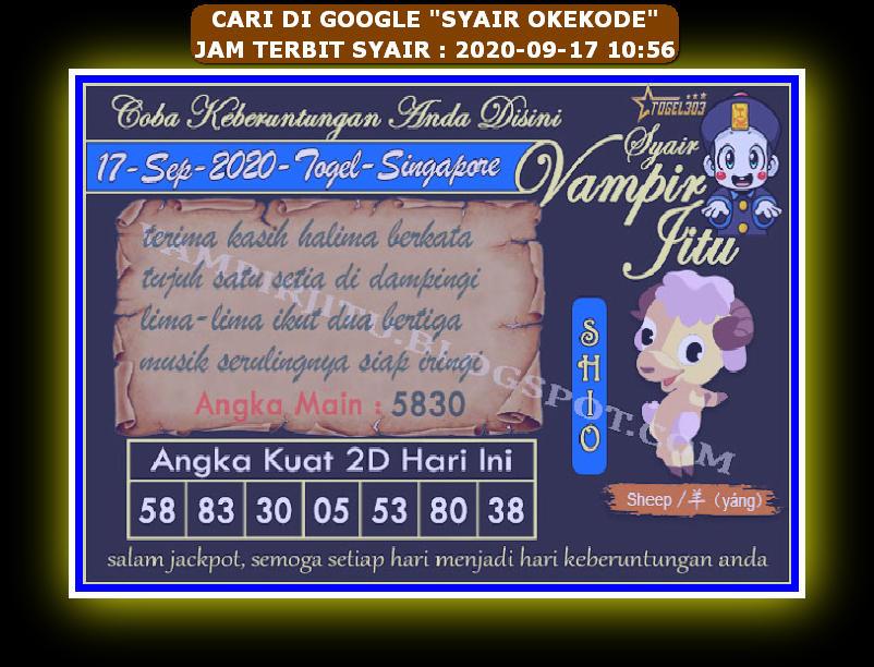 Kode syair Singapore Kamis 17 September 2020 88