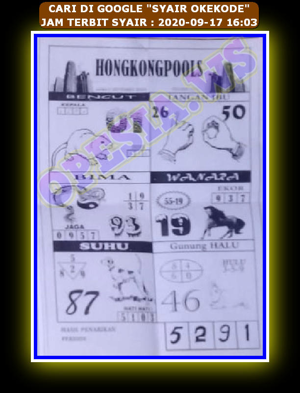Kode syair Hongkong Kamis 17 September 2020 65