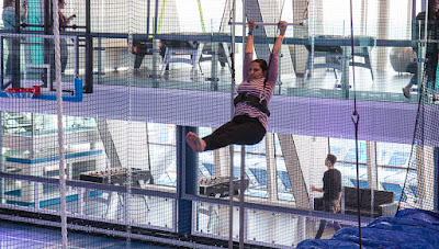Trapeze swing on board a cruise ship