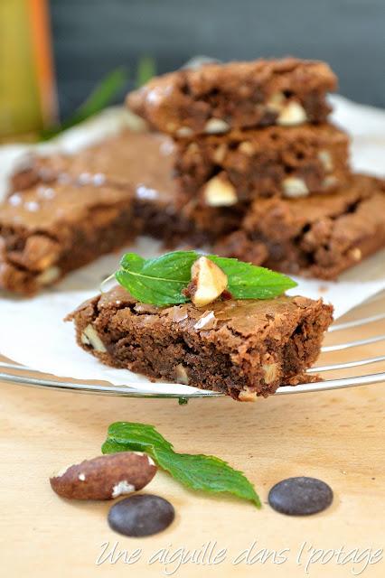 Brownie chocolat-menthe aux noix du Brésil