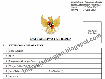 Blangko / Formulir Daftar Riwayat Hidup Berdasarkan Kepka BKN No. 11 Tahun 2002  Salam Edukasi