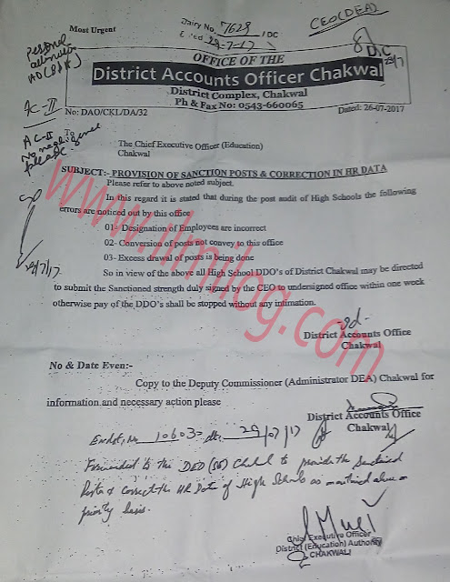 Provision-of-Sanction-Posts-and-Correction-in-HR-data-District-Accounts-Office-Chakwal