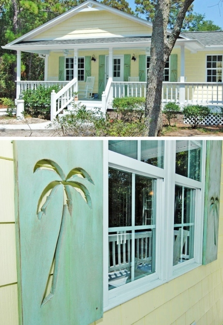 Southern Cottage Decorative Palm Tree Shutters