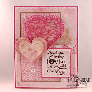 Our Daily Bread Designs Stamp Set: Love You Bunches, Paper Collection:  Heart and Soul, Custom Dies: Pierced Rectangles, Pierced Squares, Double Stitched Pennant Flags, Pennant Flags, Layering Hearts, Tulip Heart, Center Step A2 Layers