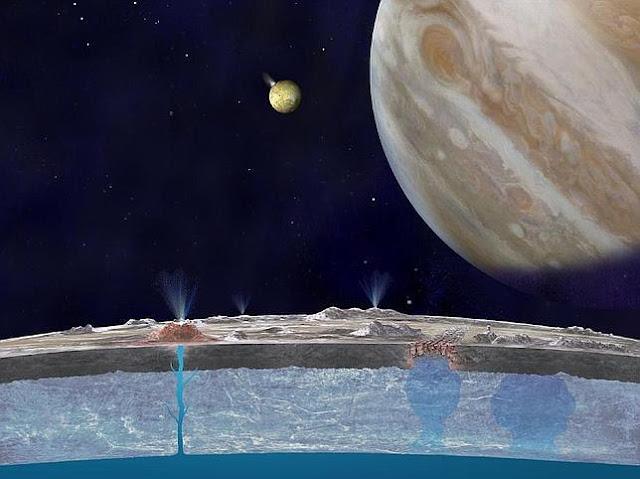 El posible océano de agua líquida del interior de Europa podría contener vida extraterrestre, manifestaron científicos de NASA.