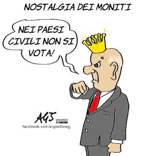Napolitano, nostalgia, moniti, elezioni, vignetta, satira