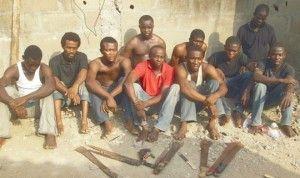 Ten secret cult members attacking themselves with dangerous weapons in Oju-ore, Ota Ogun State