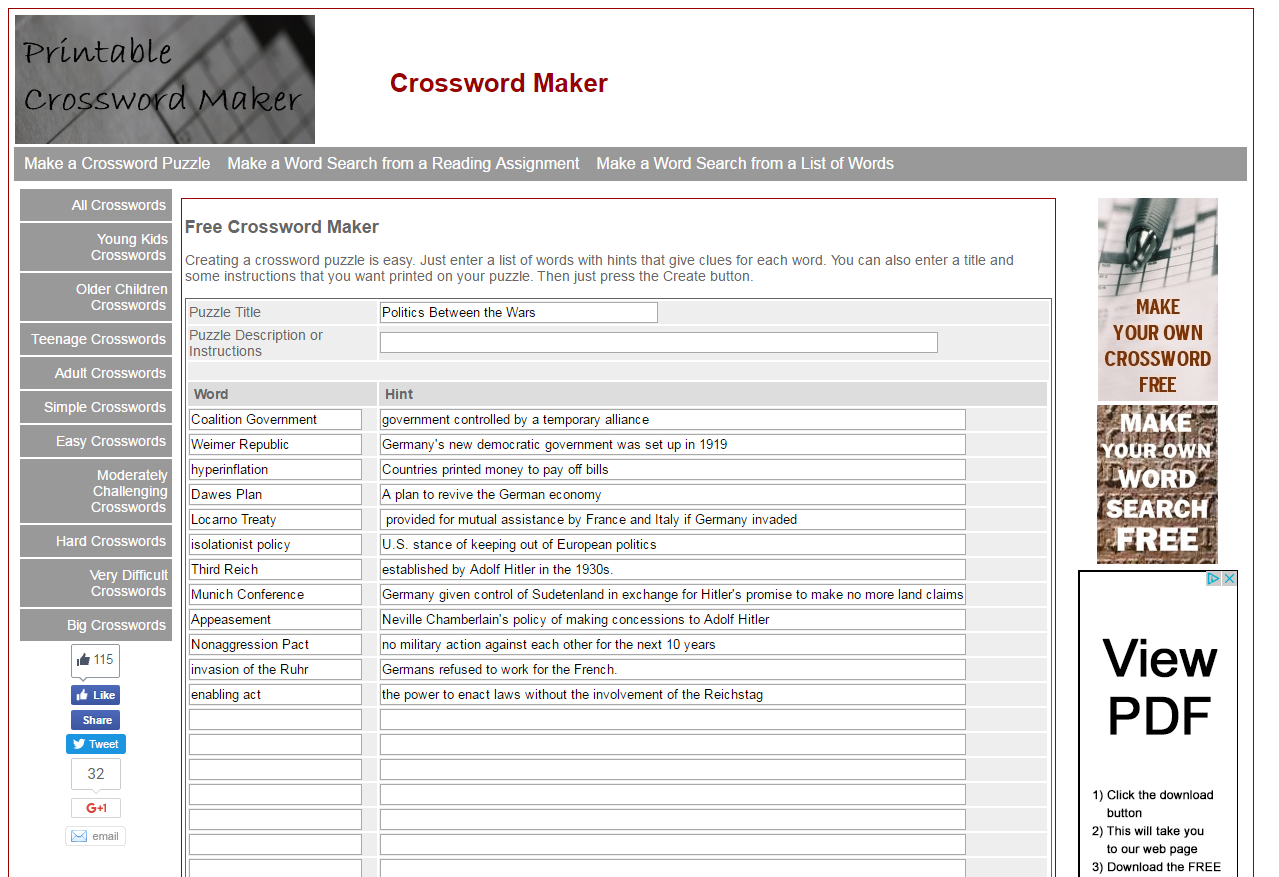 Learning Blog Making Your Own Crossword Puzzles