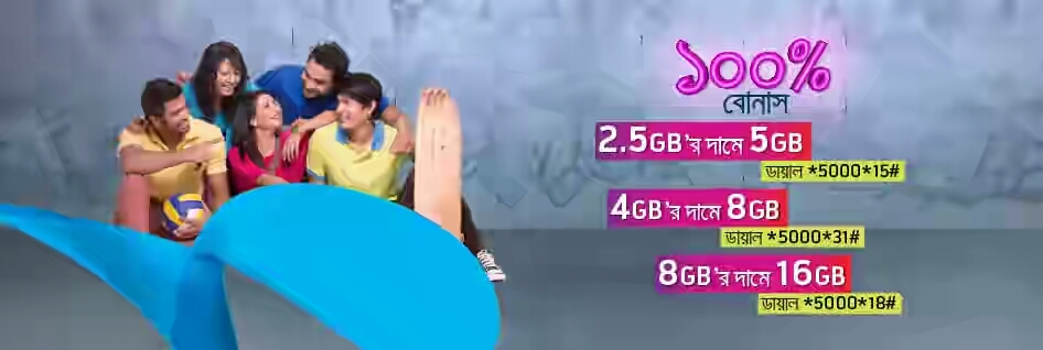 Grameenphone 100% Internet Data Bonus Offer