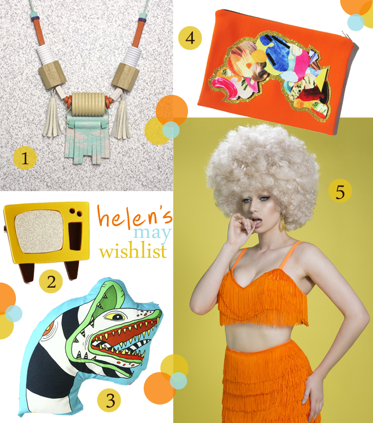 wishlist, wish list, fashion wishlist, spring summer 2016, ss16, Totem Works, statement necklace, necklace with tassels, orange wishlist, I am acrylic, tv brooch, television jewellery, retro tv, Pilfered, Beetlejuice, beetle juice cushion, sandwork cushion, Belair, orange fringed bra, fringed bra top, neoprene clutch, Jen Cheema, abstract clutch, orange clutch bag, scottish blogger, fashion blogger scotland, Dudnee fashion blogger
