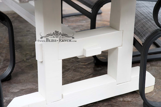 Cement Plant Topped Farmhouse Patio Table, Bliss-Ranch.com