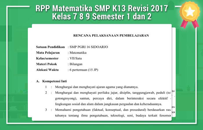 Rpp Matematika Smp K13 Revisi 2017 Kelas 7 8 9 Semester 1 Dan 2 Operator Sekolah