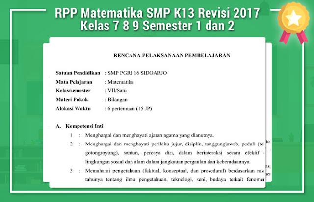 RPP Matematika SMP K13 Revisi 2017 Kelas 7 8 9 Semester 1 dan 2