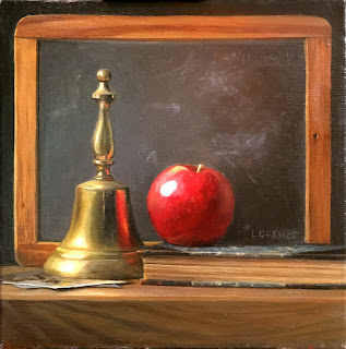 vintage slate, brass bell, apple for teacher, vintage reader