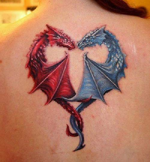 red blue dragon tattoos ejderha dövmeleri