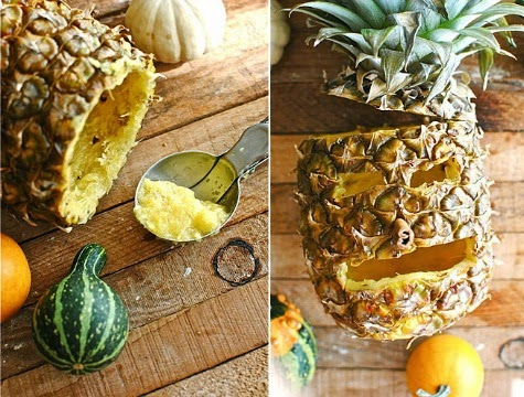 Jack o lantern pineapple carving for a tropical halloween for Pineapple carving designs