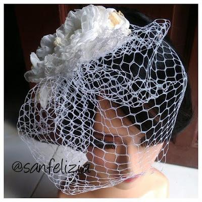 Terima bikin dan menjual birdcage veil atau veil pengantin jaring lubang besar bergaya vintage barat. Gaya veil pengantin tahun 20an. Jual veil pengantin berkualitas bagus. Menerima bikin sluier pengantin
