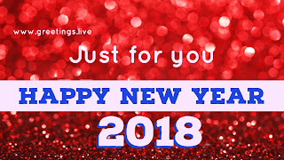 Red Sparkling background Greetings on Happy New Year in Blue color white track BG 2018