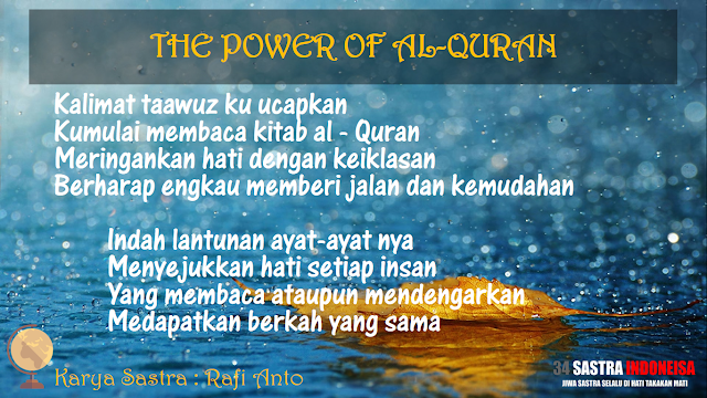 Puisi untuk Al-Quran THE POWER OF AL-QURAN | 34 Sastra Indonesia