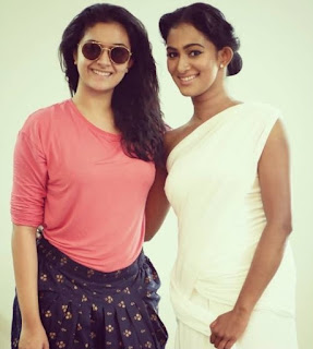 Keerthy Suresh in T-Shirt with Cute and Awesome Lovely Smile with Dancer Soumya Muraleedharan