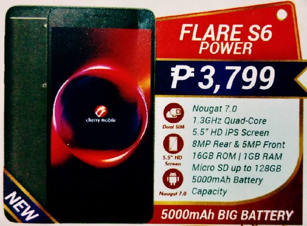 Cherry Mobile Flare S6 Power; Quad Core with 5000mAh Battery for only Php3,799