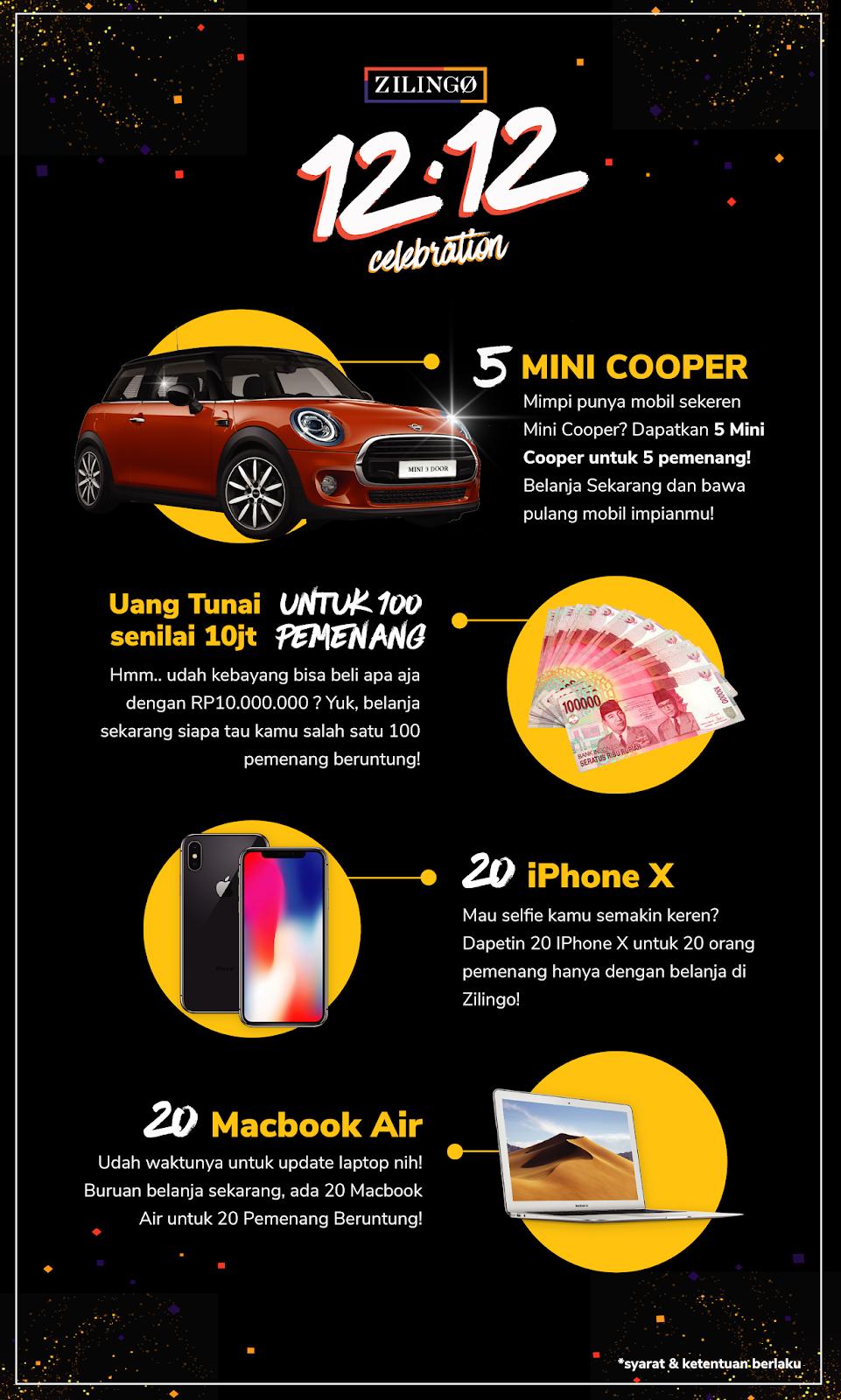Zilingo - Promo 12.12 Celebration Dapatkan Mini Cooper & Hadiah Lainnya