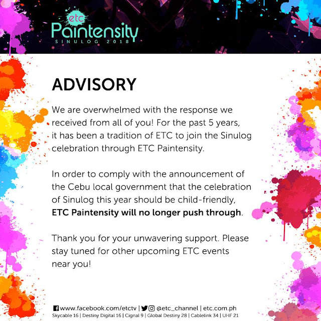 Paintensity Sinulog 2018 is cancelled