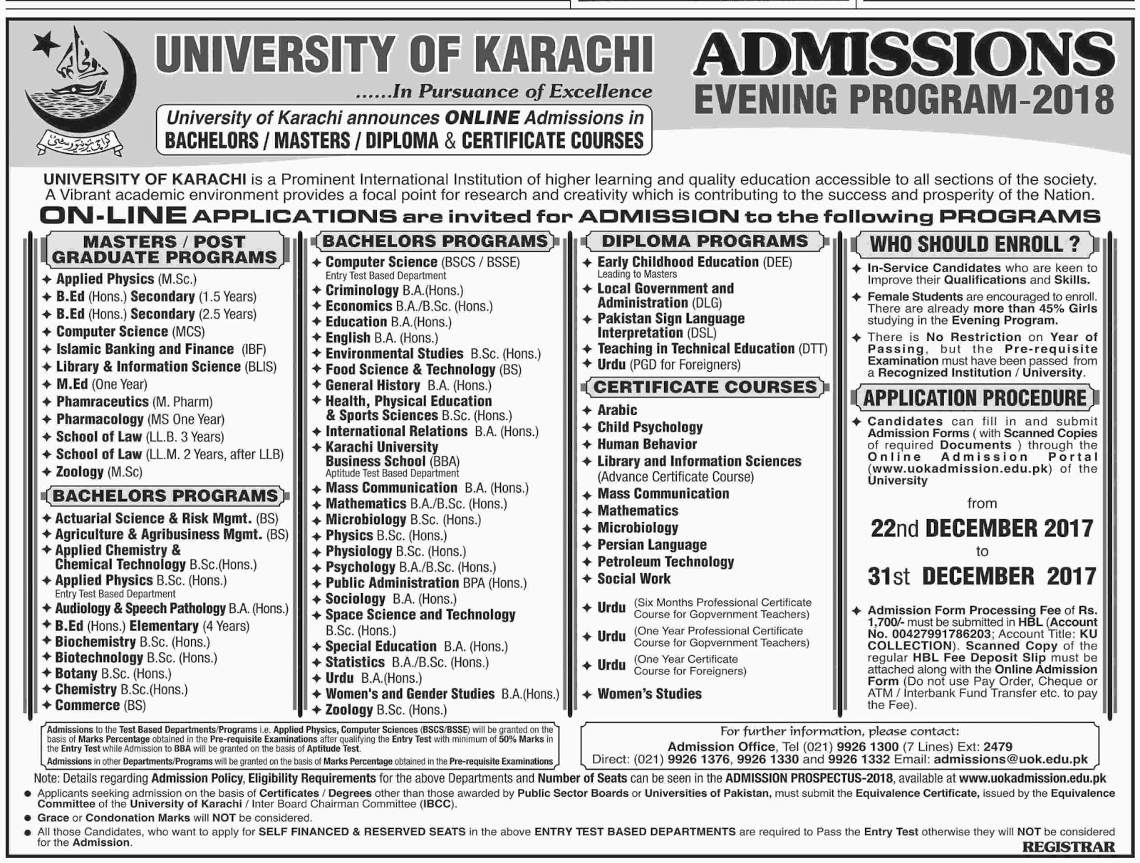 Admissions Open in University of Karachi