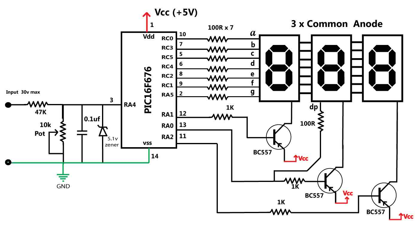 digital panel meter circuit diagram