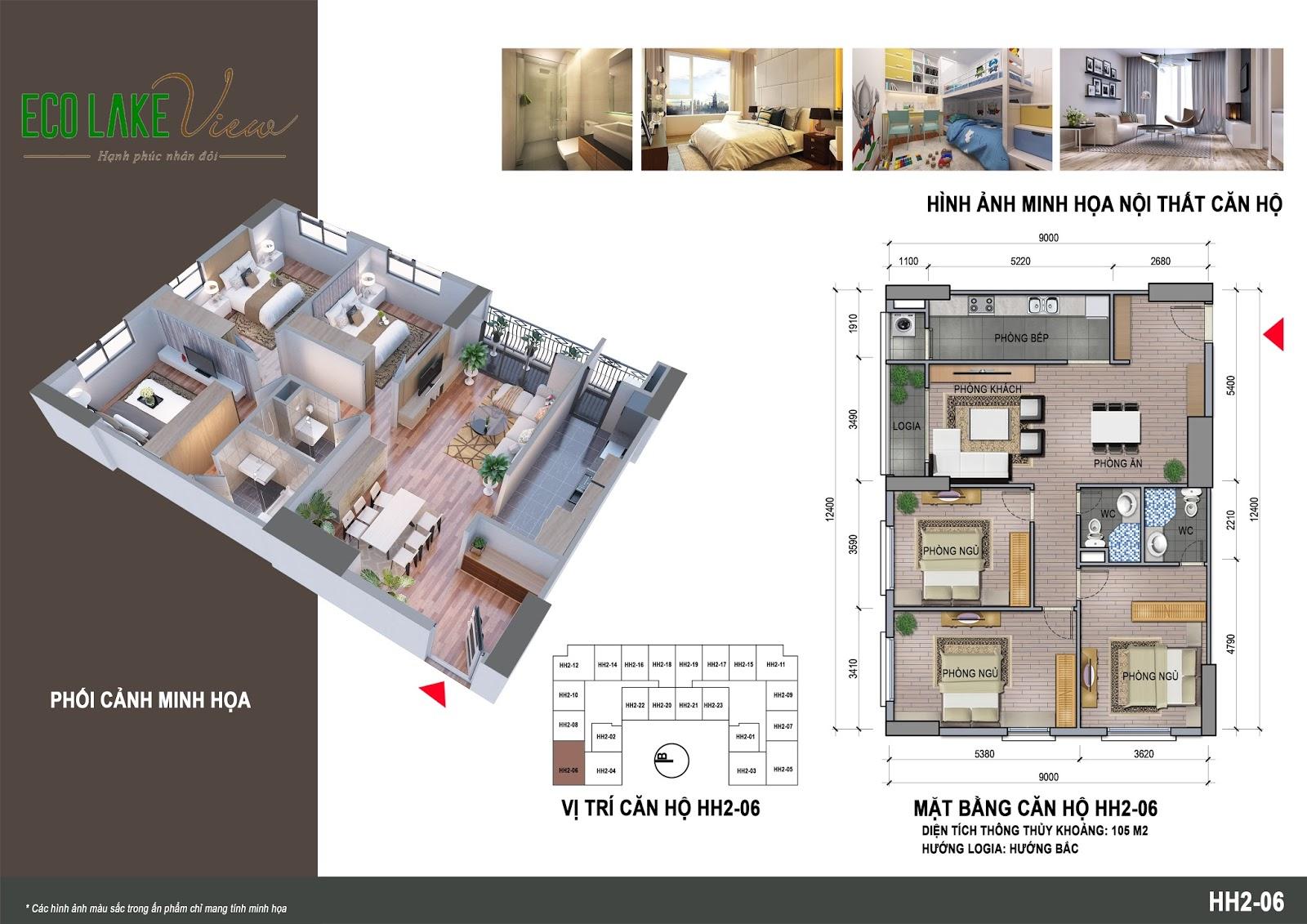 Mặt bằng căn hộ số 06 tòa HH02