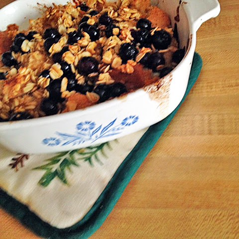 vegan baked French toast with maple blueberry crisp