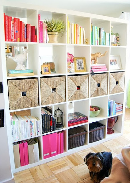 colorful and stylish organised bookshelves