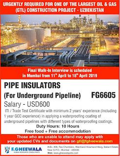 Pipe Insulators Gulf jobs walkins for Uzbekistan text image