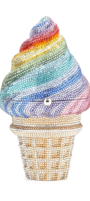 Judith Leiber Ice Cream Cone Crystal Minaudiere, Multi