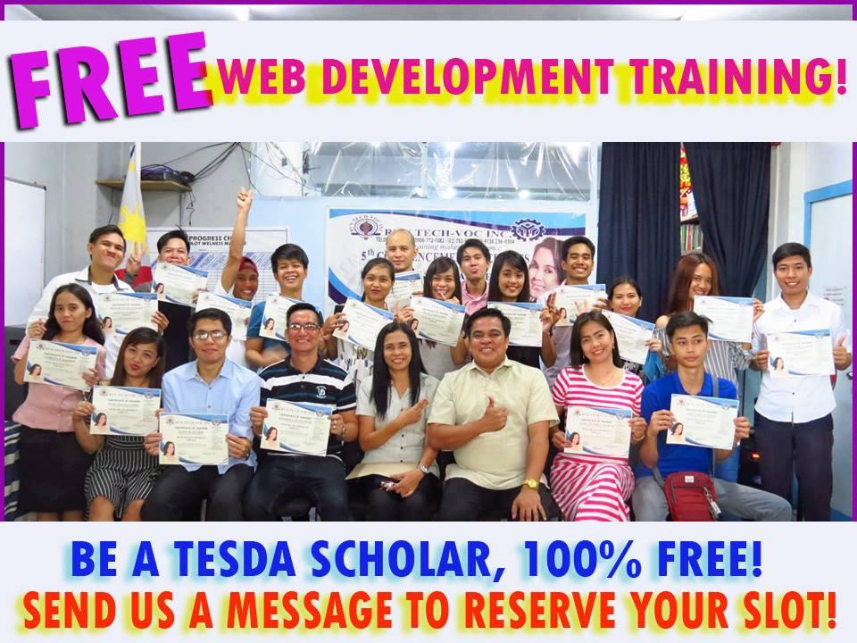 100% Free TESDA training program (Web Dev and Hilot)