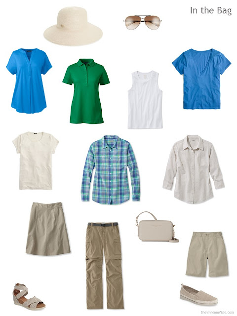 travel capsule wardrobe for hot weather in beige, blue and green