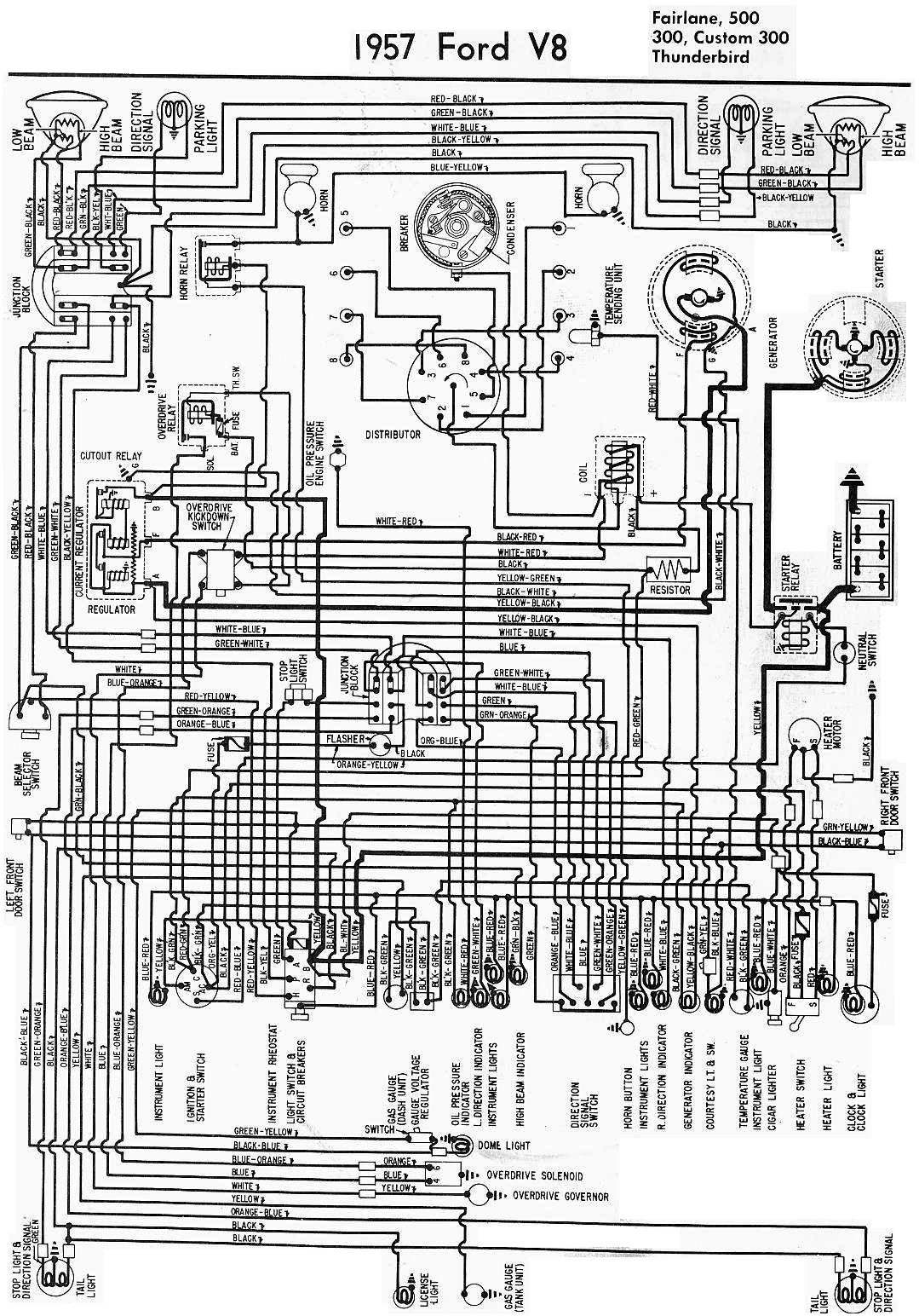ford nc fairlane wiring diagram 1957 ford fairlane 500, 300, custom 300, and thunderbird ... #2