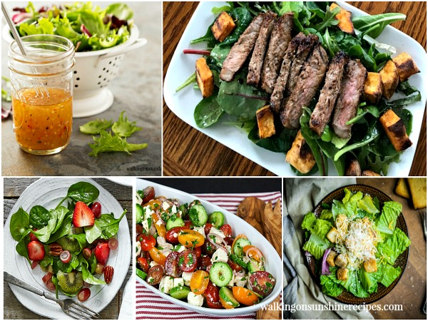 A collection of summer salad recipes featured on Walking on Sunshine as part of our Delicious Dishes Recipe Party.