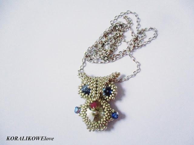 koralikowa sowa,beaded owl,koraliki,beads,wisior,toho,koralikowelove