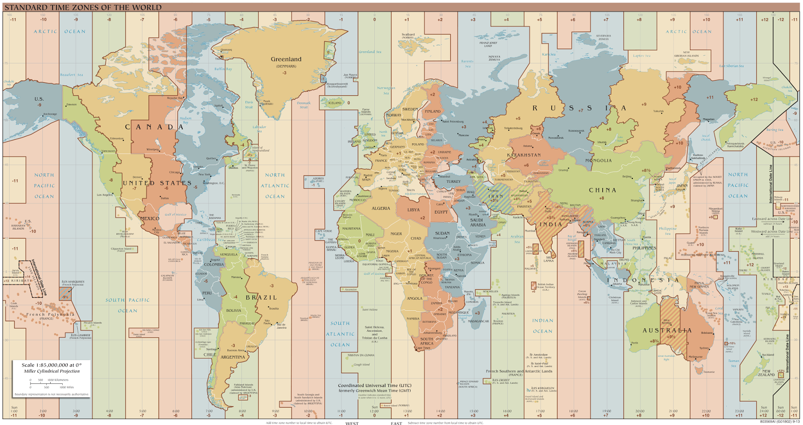 A time zone map of the world, showing all the world's standard time zones as of the beginning of 2017, with UTC offsets.