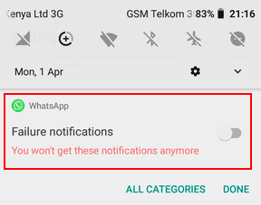 disable in notification panel