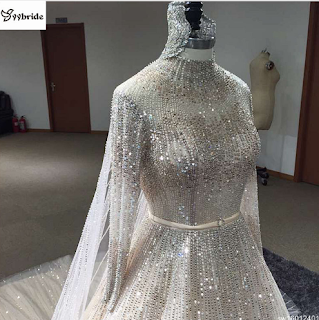 2018 Surmount Direct Selling Ball Gowns Long Sleeves High-neck Hand Sewing Beaded  Dress China Wedding Dresses e16a54d716ca