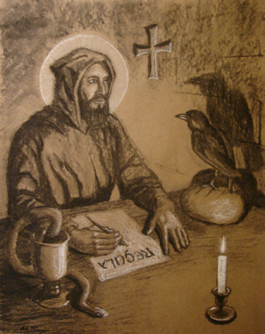 how st benedict lives out his The life of st benedict  and many upon the report of his sanctity reforming their lives  he that rejecting out of his mind the malignant.